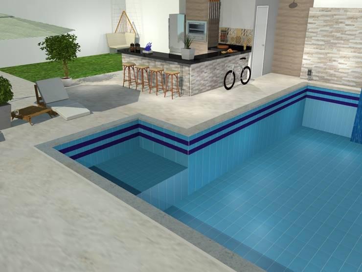 Área externa descontraída e moderna: Piscinas ecléticas por Loja Architetto