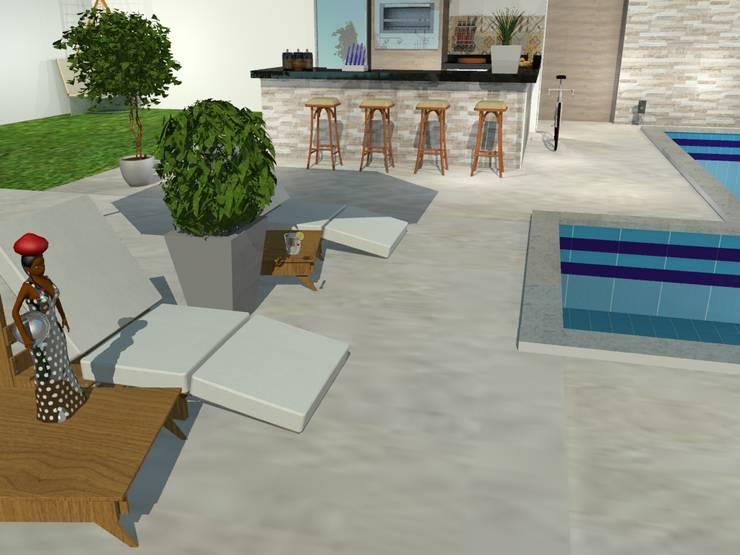Área externa descontraída e moderna Piscinas ecléticas por Loja Architetto Eclético