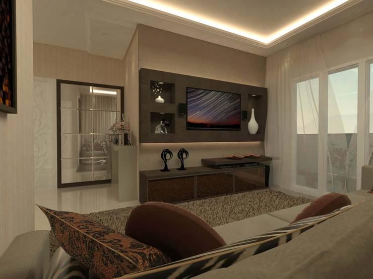 Projeto Residencial Colombo: Salas de estar  por Elaine de Bona Arquitetura e Interiores