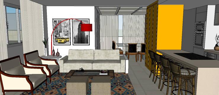 Cobertura Barra Bonita: Salas de estar  por Duplex Interiores