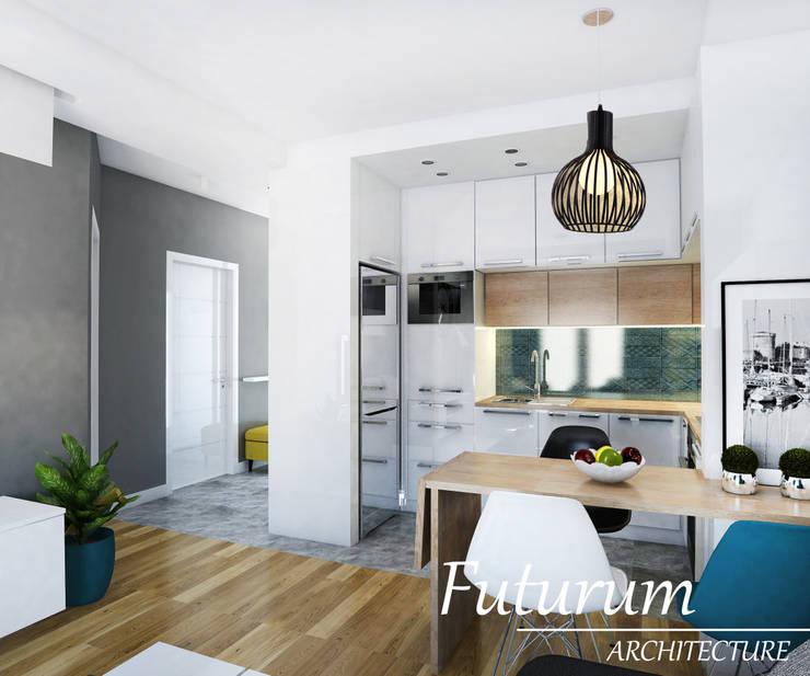 Projekt wnętrza mieszkania 39 m2 , Warszawa: styl , w kategorii Kuchnia zaprojektowany przez Futurum Architecture