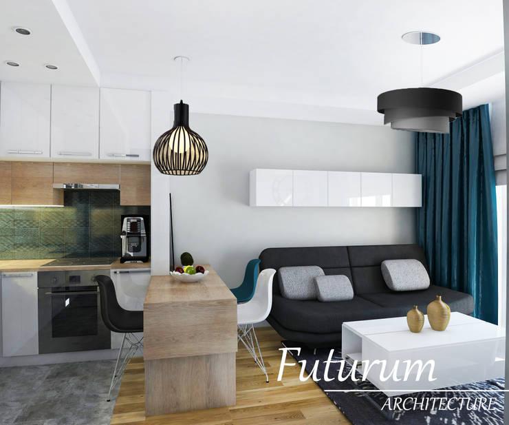 Projekt wnętrza mieszkania 39 m2 , Warszawa: styl , w kategorii Salon zaprojektowany przez Futurum Architecture
