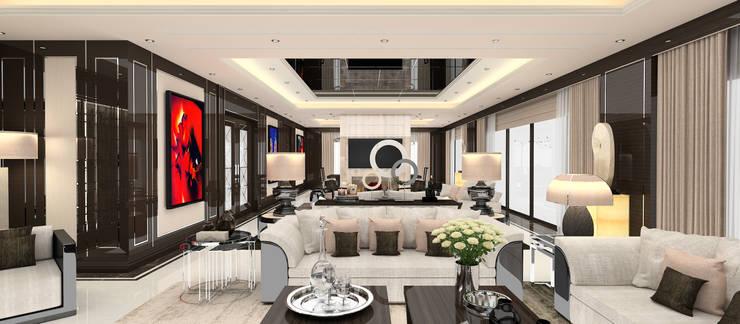 Kerim Çarmıklı İç Mimarlık – A.U.D EVİ: modern tarz Oturma Odası