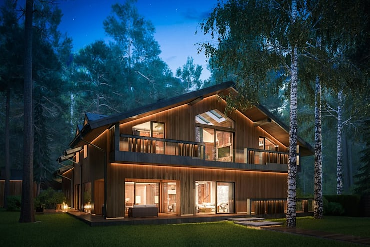 Modern Eco-house in Zhukovka.: Дома в . Автор – Design studio of Stanislav Orekhov. ARCHITECTURE / INTERIOR DESIGN / VISUALIZATION.