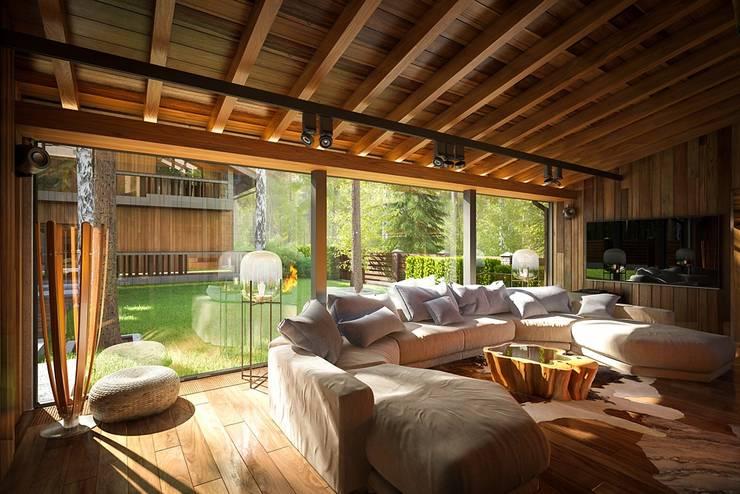 Salas multimedia de estilo  por Design studio of Stanislav Orekhov. ARCHITECTURE / INTERIOR DESIGN / VISUALIZATION.