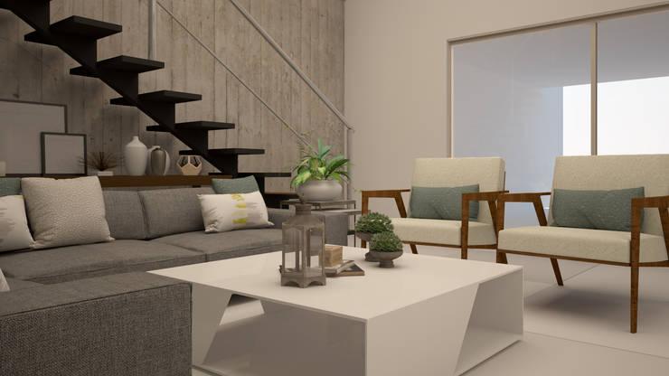 Casa Dzitya: Salas de estilo  por CONTRASTE INTERIOR