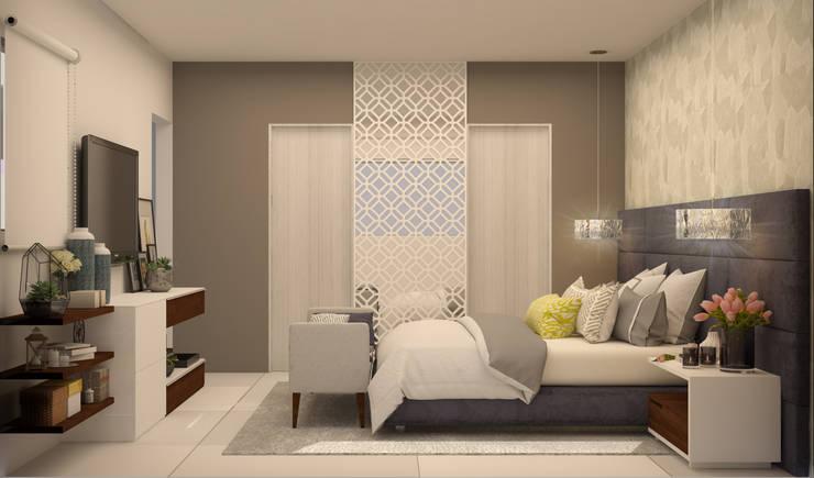 Casa Dzitya: Recámaras de estilo  por CONTRASTE INTERIOR