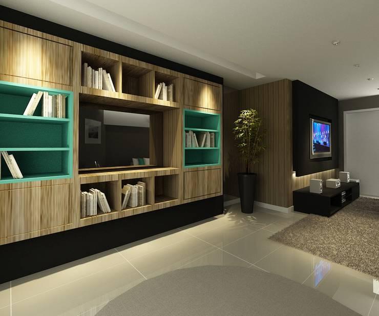 Apartamento (2) em Blumenau – SC – Brasil: Salas de estar  por Modulo2 Arquitetos Associados.