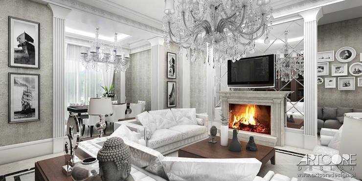 Vintage Glam - projekt stylowego salonu: styl , w kategorii Salon zaprojektowany przez ArtCore Design,Klasyczny