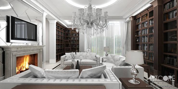 Vintage Glam - projektowanie wnętrz stylowego salonu: styl , w kategorii Salon zaprojektowany przez ArtCore Design,Rustykalny