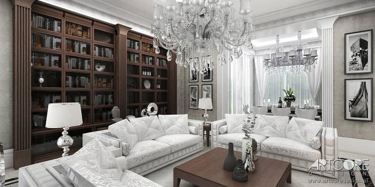 Vintage Glam - projektowanie wnętrz stylowego salonu: styl , w kategorii Salon zaprojektowany przez ArtCore Design,Klasyczny