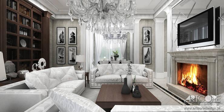 Vintage Glam - projektowanie wnętrz stylowego salonu: styl , w kategorii Salon zaprojektowany przez ArtCore Design,Eklektyczny