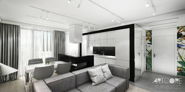 Wonderland - projektowanie wnętrz mieszkania w Krakowie - salon: styl , w kategorii Kuchnia zaprojektowany przez ArtCore Design