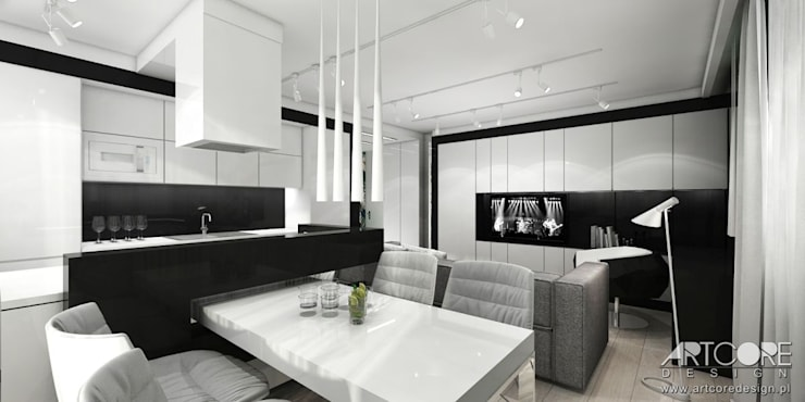 Wonderland - projektowanie wnętrz mieszkania w Krakowie: styl , w kategorii Jadalnia zaprojektowany przez ArtCore Design