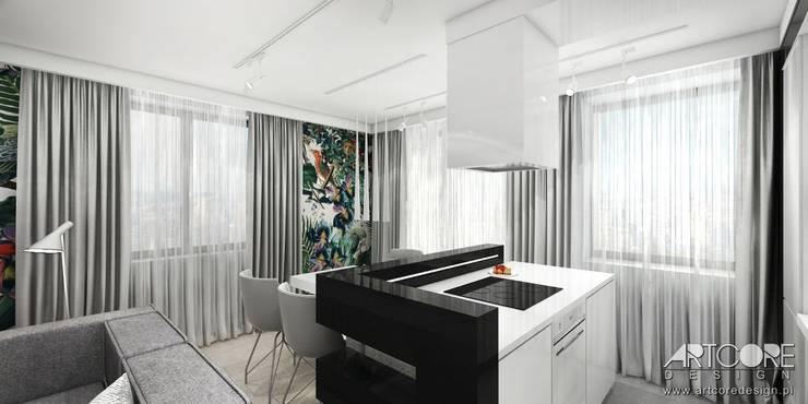 Wonderland - projektowanie wnętrz mieszkania w Krakowie: styl , w kategorii Kuchnia zaprojektowany przez ArtCore Design