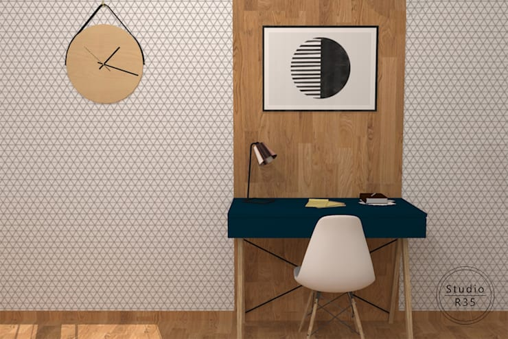 Mokotów: styl , w kategorii Domowe biuro i gabinet zaprojektowany przez Studio R35