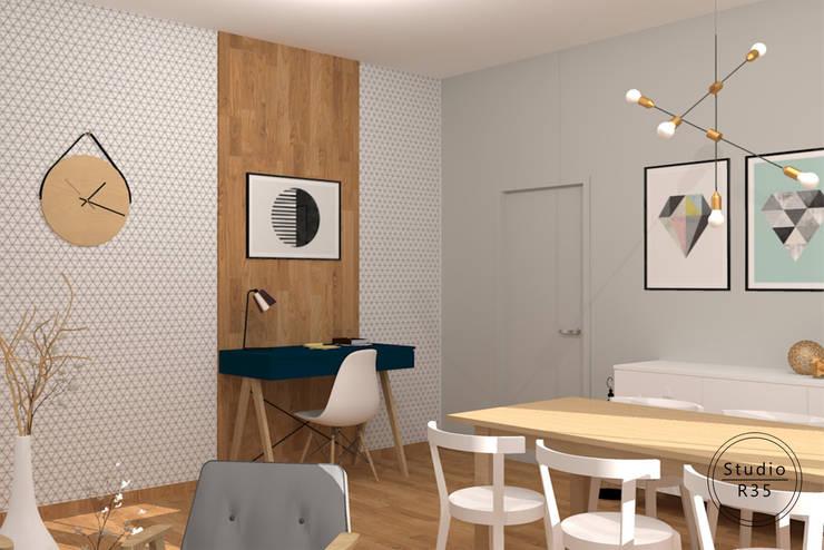 Mokotów: styl , w kategorii Salon zaprojektowany przez Studio R35