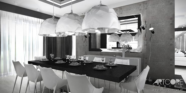 White Rabbit – Projekt wnętrza nowoczesnego domu: styl , w kategorii Jadalnia zaprojektowany przez ArtCore Design,Nowoczesny