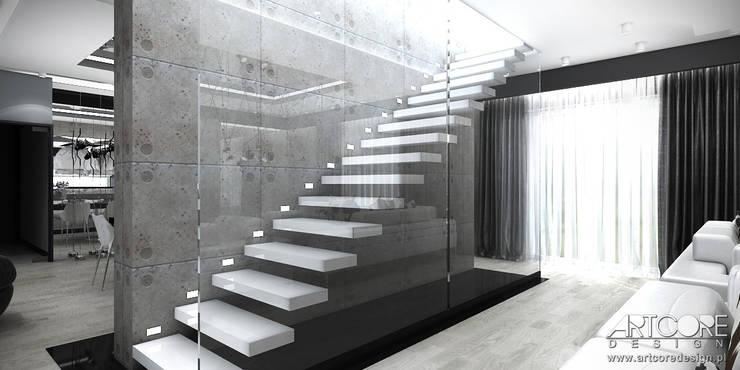White Rabbit – Projekt wnętrza nowoczesnego domu: styl , w kategorii Korytarz, przedpokój zaprojektowany przez ArtCore Design,Nowoczesny