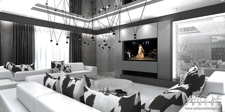 White Rabbit – Projekt wnętrza nowoczesnego domu: styl , w kategorii Salon zaprojektowany przez ArtCore Design,Nowoczesny