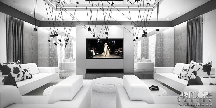 White Rabbit - Projekt wnętrza nowoczesnego domu: styl , w kategorii Salon zaprojektowany przez ArtCore Design,Nowoczesny