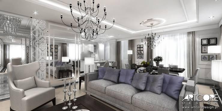 Five o'clock - projekt wnętrza apartamentu w Warszawie: styl , w kategorii Salon zaprojektowany przez ArtCore Design