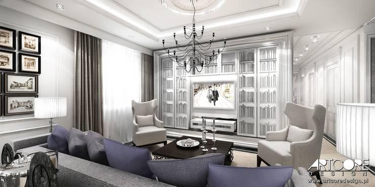 Five o'clock – projekt wnętrza apartamentu w Warszawie: styl , w kategorii Salon zaprojektowany przez ArtCore Design