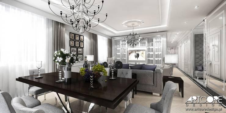 Five o'clock – projekt wnętrza apartamentu w Warszawie: styl , w kategorii Jadalnia zaprojektowany przez ArtCore Design