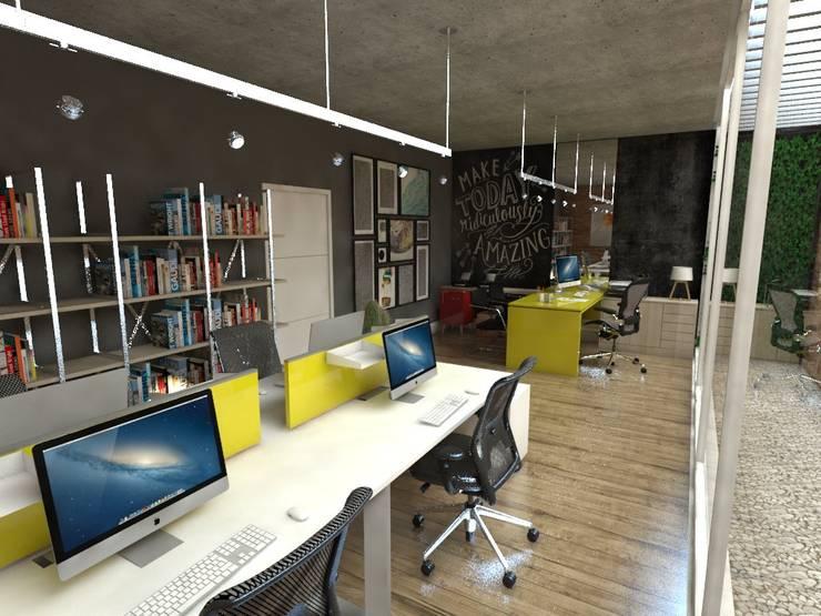 Escritório de Design: Espaços comerciais  por Studio M Arquitetura,Industrial