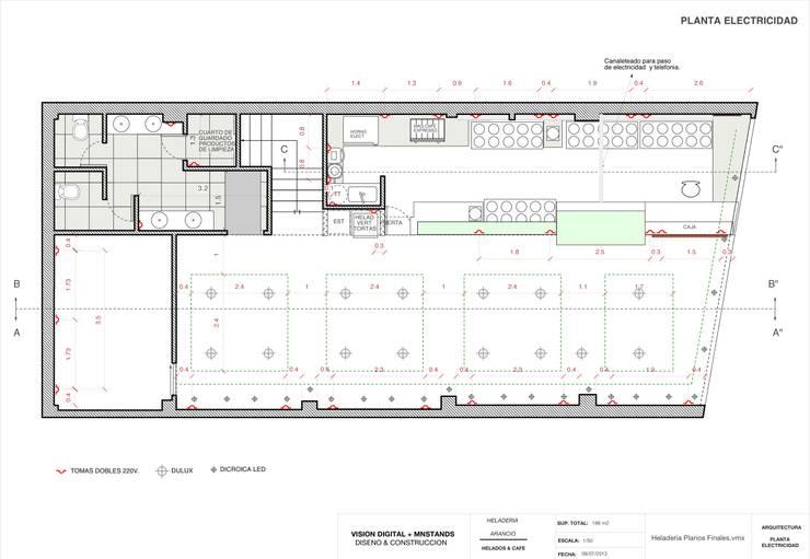 Planta Modelo del Proyecto Bares y clubs de estilo moderno de Vision Digital Architecture Moderno
