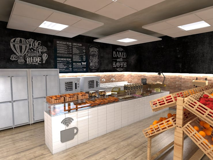 Mini Mercado  Padaria: Espaços gastronômicos  por Studio M Arquitetura