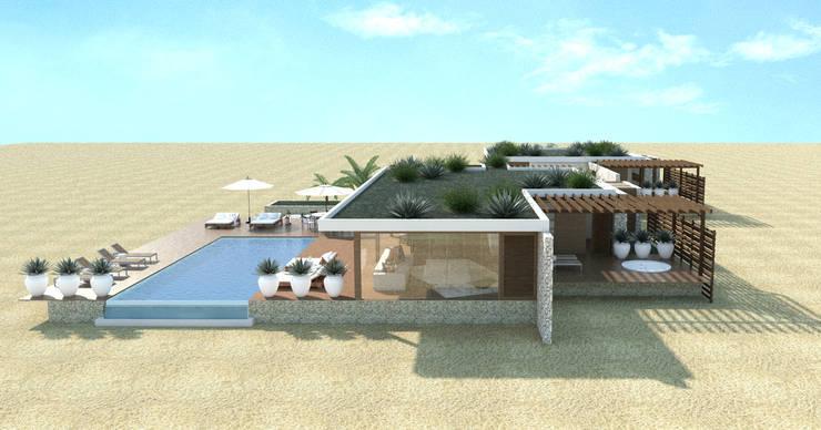 vista lateral piscina: Piscinas  por Renato Teles Arquitetura