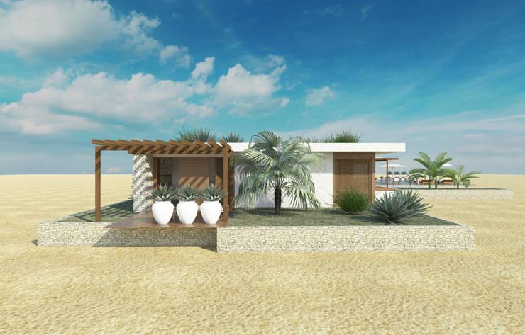 fachada lateral: Casas  por Renato Teles Arquitetura