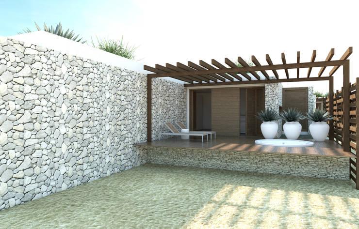 fachada varaandas: Terraços  por Renato Teles Arquitetura