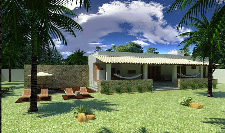 fachada piscina: Terraços  por Renato Teles Arquitetura