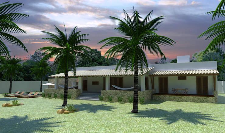 Fachada jardim: Terraços  por Renato Teles Arquitetura