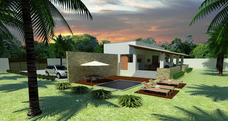 residencia de campo: Piscinas campestres por Renato Teles Arquitetura