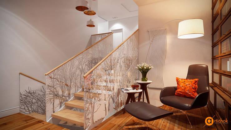 Pasillos y recibidores de estilo  por Art-i-Chok