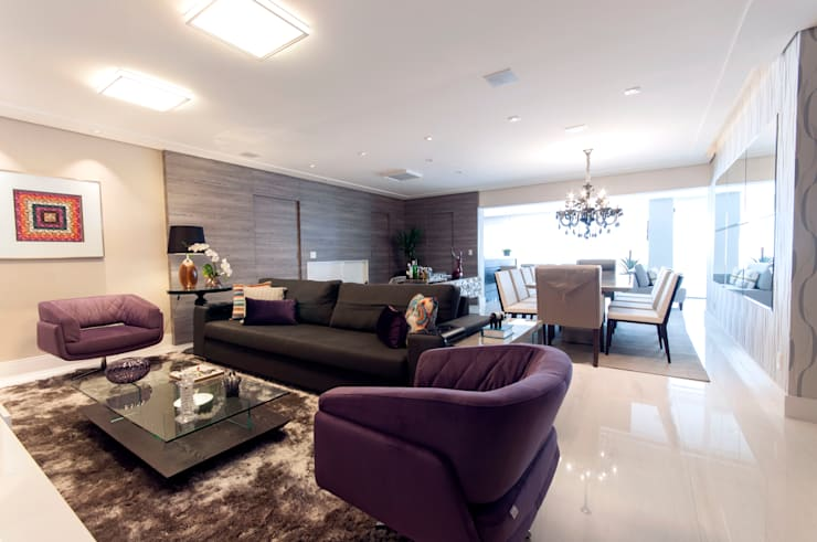 Estar: Salas de estar  por Haus Brasil Arquitetura e Interiores,