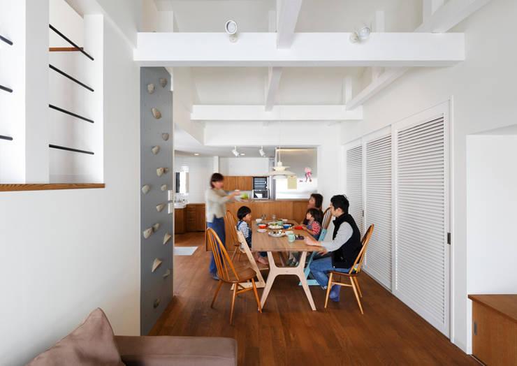 阿倍野の長屋〈renovation〉-5段の距離がいい-: atelier mが手掛けたダイニングです。