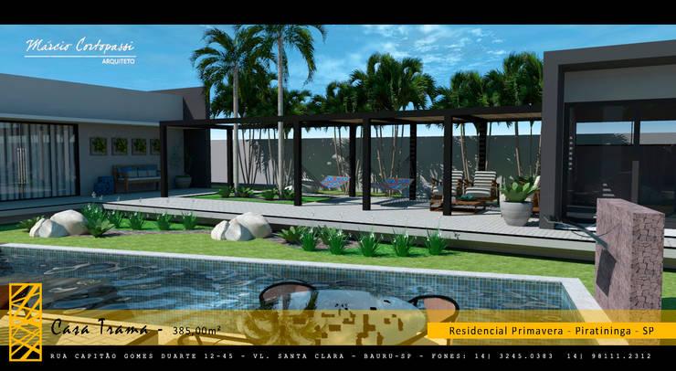 PROJETO TRAMA – RESIDENCIAL PRIMAVERA – PIRATININGA / SP: Jardins  por Márcio Cortopassi Arquitetura,