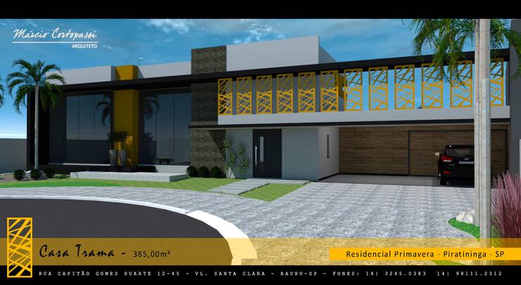 PROJETO TRAMA – RESIDENCIAL PRIMAVERA – PIRATININGA / SP: Casas  por Márcio Cortopassi Arquitetura,