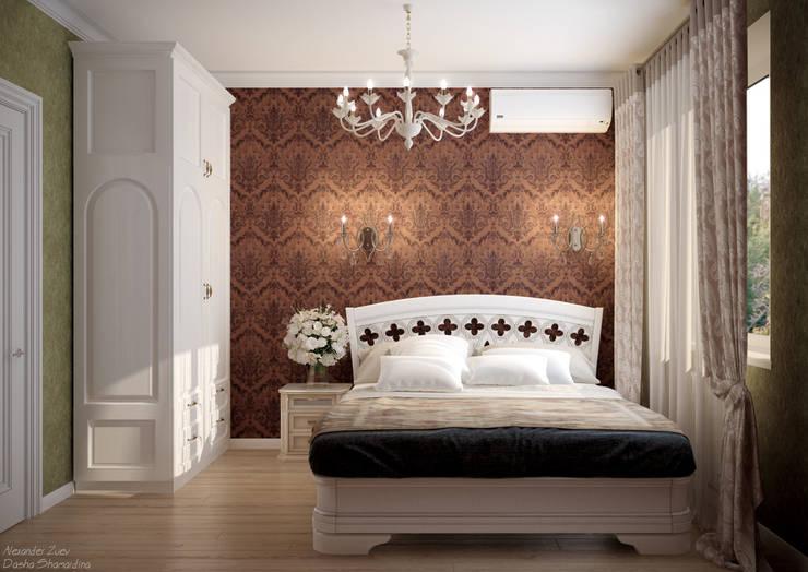 Дизайн второй гостевой в классическом стиле в пос. Краснодарский: Спальни в . Автор – Студия интерьерного дизайна happy.design