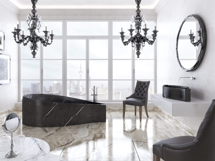 Lake bathtub and sink: Bagno in stile in stile Moderno di PURAPIETRA