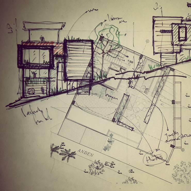 Boceto inicial: Casas de estilo  por Le.tengo Arquitectos