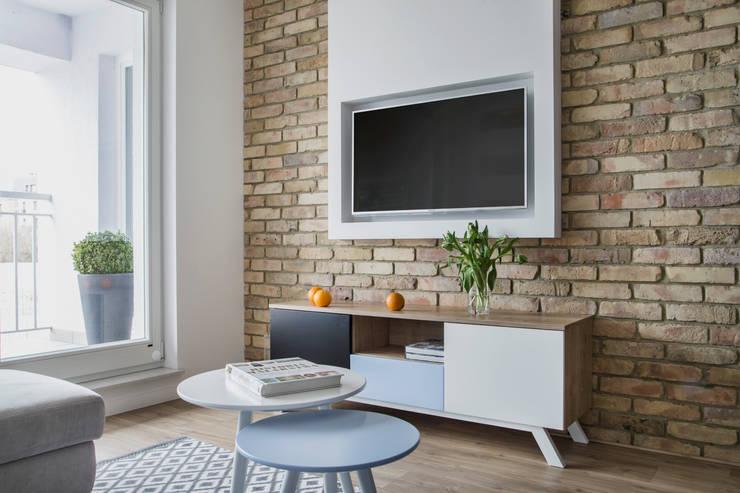 Salon z aneksem kuchennym, Szczecin: styl , w kategorii Salon zaprojektowany przez Bartosz Andrzejczak Architekt Wnętrz