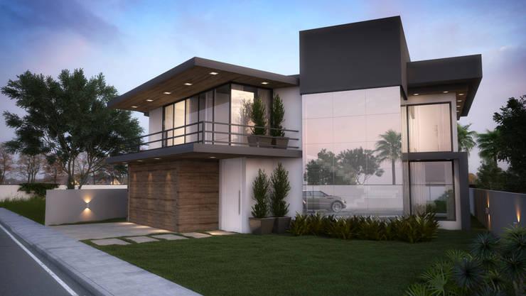 Casa do Bosque - Fachada Frente: Casas  por IVVA Construindo Valores