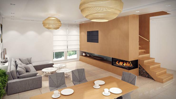 Dom, pow. 210 m2, Chwaszczyno: styl , w kategorii Salon zaprojektowany przez 3miasto design,Nowoczesny
