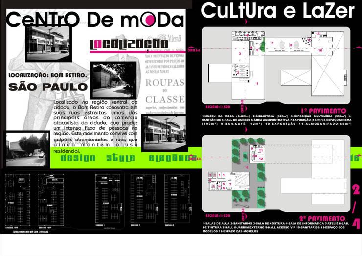 Planta baixa - 1º e 2º pavimento - Planta da garagem-  Centro de Moda, Cultura e Lazer:   por Arquitetura Ecológica,