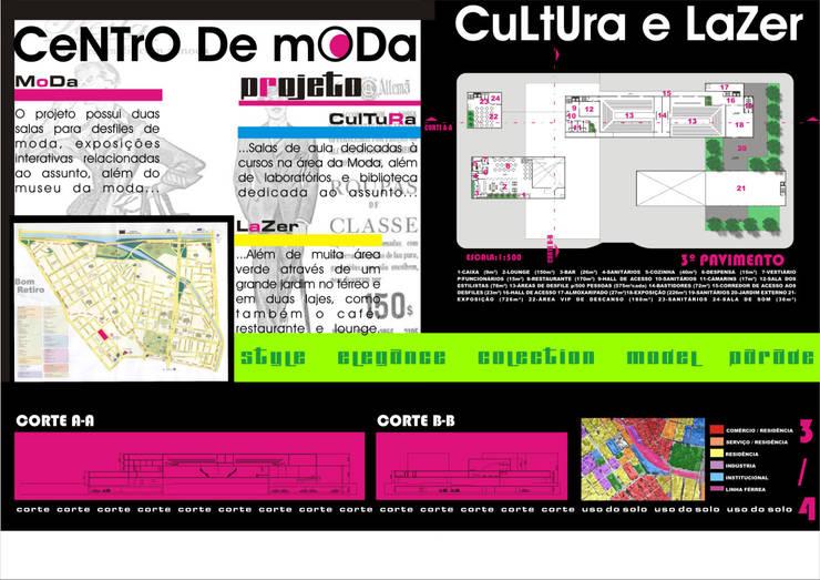 Planta baixa - 3º pavimento / cortes - Centro de Moda, Cultura e Lazer :   por Arquitetura Ecológica,